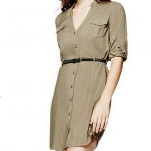 Guess Kimia dusty olive shirt dress. Size XL